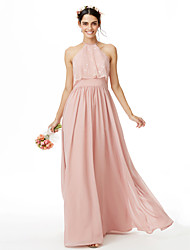 cheap -A-Line Jewel Neck Floor Length Chiffon Lace Bridesmaid Dress with Lace Pleats by LAN TING BRIDE®
