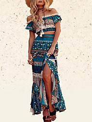 cheap -Women's Outdoor Spring, Fall, Winter, Summer Blouse Skirt Suits,Print Bateau Short Sleeve Fiber Micro-elastic