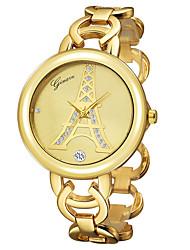 Mulheres Relógio de Pulso Quartzo Banhado a Ouro 18K Banda Torre Eiffel Rígida Dourada