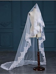 cheap -One-tier Lace Applique Edge Wedding Wedding Veil Wedding Veils 53 Lace Princess