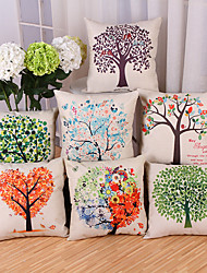 cheap -Set Of 7 Creative Tree Of Life Printing Pillow Cover Cotton/Linen Pillow Case Cushion Cover Home Decor