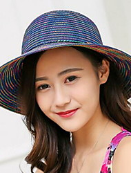 Lady Summer Straw Sun Bohemian Rainbow Striped Bow Fisherman Couple Beach Cap