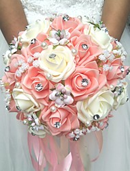 cheap -Wedding Flowers Round Roses Bouquets Wedding / Party/ Evening Satin / Silk / Bead / Rhinestone