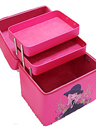 Women Cosmetic Bag PU All Seasons Square Zipper Amethyst Fuchsia Blushing Pink Black