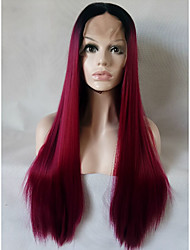 cheap -Silky Straight Mint Bug Long Glueless Heat Resistant Fiber Hair Two Tone Pastel Bug Ombre Synthetic Lace Front Wigs