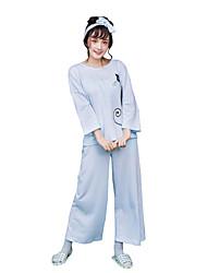 Women's Pajamas Set Cute Cartoon Cat Pattern Leisure Home Suit