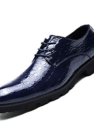 Men's Shoes PU Spring Fall Formal Shoes Oxfords Lace-up For Office & Career Party & Evening Black Red Blue