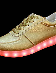 Недорогие -Жен. Обувь Полиуретан Весна Осень Кеды Для прогулок На плоской подошве Круглый носок LED для Золотой