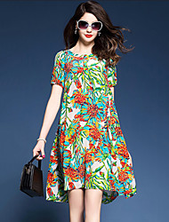 Women's Plus Size Casual/Daily Stylish Simple Loose Dress Floral Color Block Round Neck Knee-length Short Sleeve