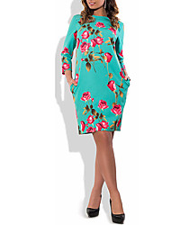Women's Plus Size Going out Party Vintage Sheath Dress,Floral Round Neck Knee-length Long Sleeve Cotton Polyester Summer High Rise