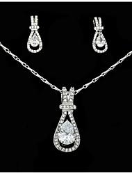 Set di gioielli Strass Adorabile Strass Lega goccia 1 collana 1 paio di orecchini Per Matrimonio Feste Compleanno 1 Set Regali di nozze