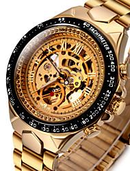 Недорогие -WINNER Муж. Часы со скелетом Наручные часы Механические часы С автоподзаводом Нержавеющая сталь Золотистый 30 m Защита от влаги С гравировкой Светящийся Аналоговый Роскошь Винтаж маскарадный -