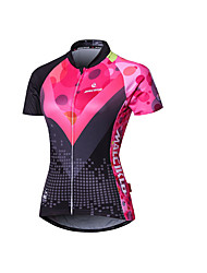 cheap -Malciklo Women's Short Sleeves Cycling Jersey - Pink British Geometic Bike Jersey Summer, Polyester Coolmax® Lycra