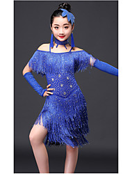 cheap -Latin Dance Outfits Performance Milk Fiber Crystals / Rhinestones Tassel Short Sleeve High Dress Bracelets Neckwear