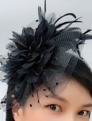 cheap -Tulle Blusher Veils Fascinators Hats with Feather 1 Event/Party Headpiece