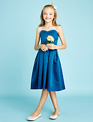 cheap -A-Line Sweetheart Knee Length Satin Junior Bridesmaid Dress with Sash / Ribbon by LAN TING BRIDE®