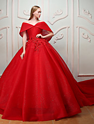 Princess Off-the-shoulder Chapel Train Lace Tulle Rehearsal Dinner Formal Evening Dress with Beading Embroidery Flower(s) Lace by QZ