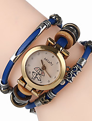 cheap -Women's Bracelet Watch Chinese Cool Leather Band Casual Black / White / Blue