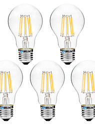 cheap -8W E27 LED Filament Bulbs A60(A19) 8 COB 600 lm Warm White White 3000-3500   6000-6500 K V