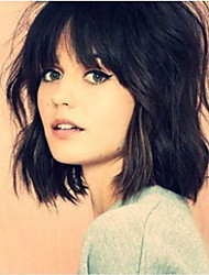cheap -Short Bob Straight Natural Black Color Hair Wig High Quality Synthetic Lace Front Wigs For Women