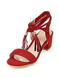 Women's Sandals Basic Pump PU Summer Wedding Dress Basic Pump Lace-up Tassel Chunky Heel Red Brown Black 2in-2 3/4in