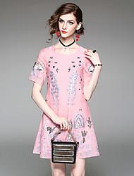 Trapèze Ample Robe Femme Bureau/Carrière Rendez-vous Sortie Sophistiqué,Broderie Col Arrondi Au dessus du genou Manches Courtes Polyester