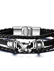 cheap -Men's Leather Bracelet - Leather Friends Rock, Fashion, Hip-Hop Bracelet Black For Christmas Gifts / Birthday / Gift