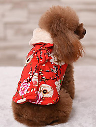 cheap -Dog Coat Dog Clothes Casual/Daily Keep Warm Floral / Botanical Red Blue Pink Costume For Pets
