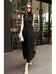 abordables -Mujer Corte Swing Vestido Un Color Maxi Escote Chino