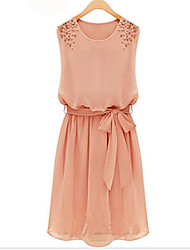 cheap -Women's Cute Loose Dress,Solid Round Neck Above Knee Sleeveless Chiffon Summer Mid Rise Inelastic Thin