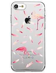 Per la copertura di caso di iphone 7 plus 7 copertura posteriore del modello della copertura posteriore del flamingo piuma molle tpu per