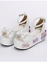 abordables -Zapatos Amaloli Lolita Clásica y Tradicional Lolita Princesa Hecho a Mano Plataforma Lazo Lolita 8 CM Blanco ParaCuero Sintético/Cuero de