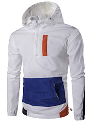 Men's Sport Daily Casual/Daily Sport Winter Spring/Fall Jacket,Color Block Hooded Long Sleeve Regular Polyester