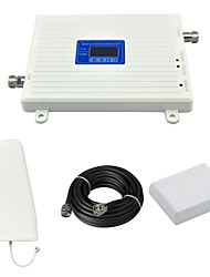 cheap -W-CDMA 2100mhz GSM 900mhz Mobile Phone Dual Band 2G 3G Signal Booster Repeater with Log Periodic Antenna / Panel Antenna / Cable / White