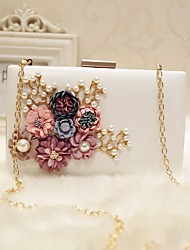 Women Bags PU Evening Bag Flower for Event/Party Party & Evening Club All Seasons White Black Blushing Pink Peach