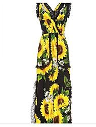 cheap -Women's Boho Jumpsuit - Vintage Stitching Lace, Floral Print Slim V Neck