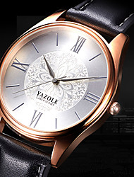 cheap -YAZOLE Men's Wrist Watch Casual Watch / Cool Leather Band Flower / Casual / Fashion Black / Brown / SSUO 377