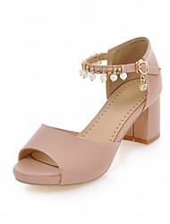 Women's Sandals Leatherette PU Summer Fall Walking Imitation Pearl Chunky Heel Beige Blue Blushing Pink 2in-2 3/4in