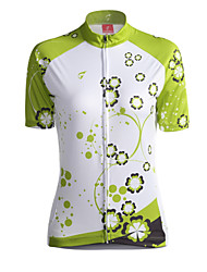 cheap -GETMOVING Women's Short Sleeve Cycling Jersey - Green Bike Jersey, Breathable Coolmax®