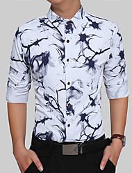 baratos -Homens Camisa Social Vintage Boho Estilo Formal Clássico Fashion Jacquard, Geométrica Árvores/Folhas Geométrico Algodão