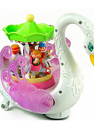 cheap -LED Lighting Toys Cute Swan Carousel Merry Go Round Plastic Pieces Children's Gift