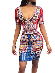 Women's Going out Club Holiday Sexy Vintage Boho National Style Bodycon DressPrint Color Block V Neck Above Knee Short Sleeve Spring Summer