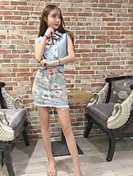 Women's Going out Casual/Daily Party/Cocktail Chinoiserie Summer Shirt Skirt Suits,Rainbow Shirt Collar Sleeveless Denim