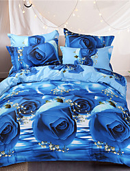 cheap -Blue rose style printed flowers queen size 100%cotton bedding sets 4pcs bed sheet pillowcase duvet cover set