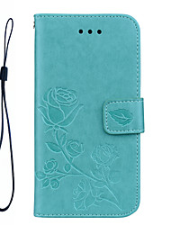 cheap -FOR Samsung Galaxy A5(2017) A3(2017) Phone Case Roses 3D Embossed Pattern Hand Rope Style PU Leather Material Phone Case