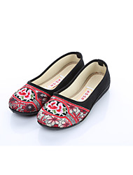 cheap -Women's Flats Ballerina Embroidered Shoes Fabric Spring Fall Office & Career Casual Flower Flat Heel Black/Blue Black/Red Flat