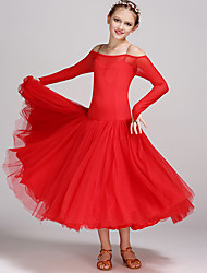 Ballroom Dance Dresses Kid's Performance Tulle Viscose Criss-Cross Tiers 1 Piece Long Sleeve Natural Dress