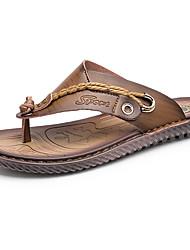 cheap -Men's Sandals Comfort Summer Rubber Outdoor Flat Heel Brown Blue Khaki Under 1in