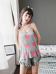 Women's Sleepwear Set Cute Heart Pattern Sleeveless Sweet Cozy Home Suit