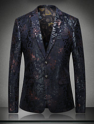 Men's Blazer V Neck Long Sleeve Sequins Patchwork Jacquard Embroidered